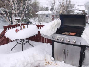 The Canadian winter barbecue. Making the most of the snow.